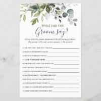 Elegant Eucalyptus Greenery Bridal Shower Game