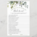 """Elegant Eucalyptus Greenery Bridal Shower Game<br><div class=""""desc"""">Enjoy your bridal shower with these funny games. Personalize with the bride to be's name and date of shower.  If you need help,  contact me please.</div>"""