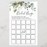 """Elegant Eucalyptus Greenery Bridal Shower Game<br><div class=""""desc"""">Personalize with the bride to be's name and date of shower.</div>"""