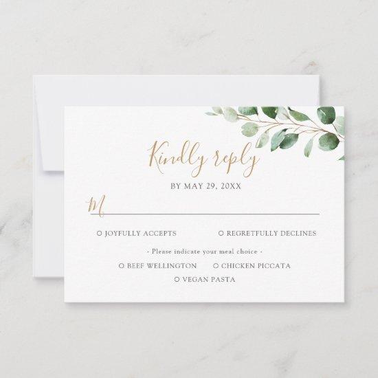Elegant Eucalyptus Greenery Meal Options RSVP Card