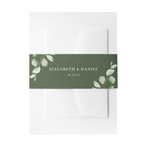 Elegant Eucalyptus Greenery Personalized Wedding Invitation Belly Band