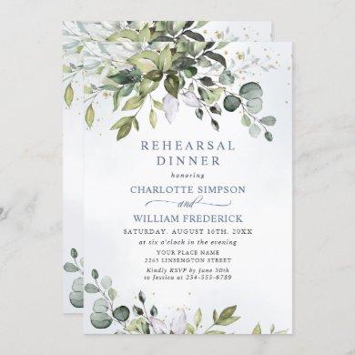 Elegant Eucalyptus Greenery Rehearsal Dinner Invitation