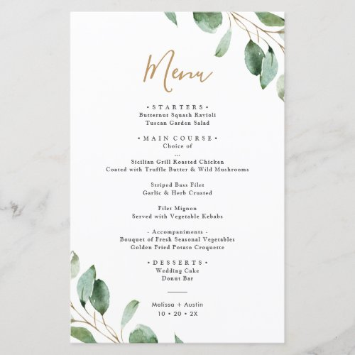 Elegant Eucalyptus Greenery Simple Wedding Menu
