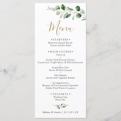 Elegant Eucalyptus Greenery Wedding Menu