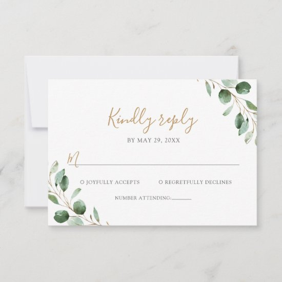 Elegant Eucalyptus Greenery Wedding RSVP Card