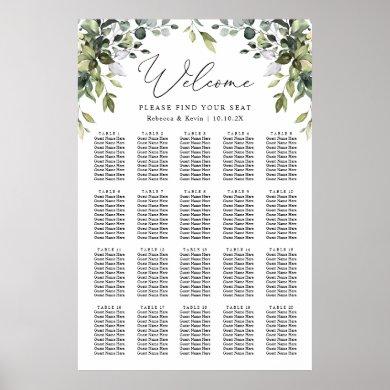 Elegant Eucalyptus Greenery Wedding Seating Chart