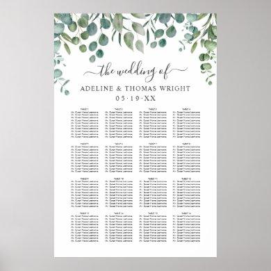 Elegant Eucalyptus Greenery Wedding Seating Poster