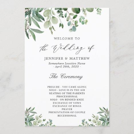 Elegant Eucalyptus Leaves Greenery Wedding Program