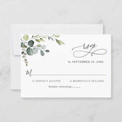 Elegant Eucalyptus Leaves Greenery Wedding RSVP Card