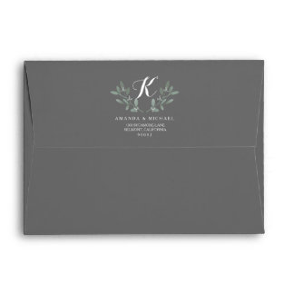 Elegant Eucalyptus Monogram Wedding Suite Envelope