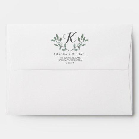 Elegant Eucalyptus Monogram Wedding Suite Envelope