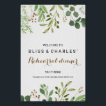 """Elegant Eucalyptus Rehearsal dinner Welcome Poster<br><div class=""""desc"""">This elegant eucalyptus rehearsal dinner welcome poster is perfect for a tropical rehearsal dinner.  The design features artistically hand-painted beautiful eucalyptus green leaves arranged into geometric shapes,  inspiring natural beauty.</div>"""