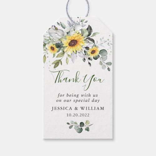 Elegant Eucalyptus Sunflowers Favor Thank You Gift Tags