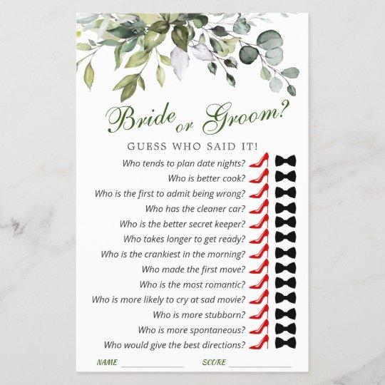 Elegant Eucalyptus Watercolor Bridal Shower Game