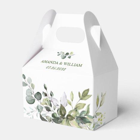 Elegant Eucalyptus Watercolor Greenery Wedding Favor Box