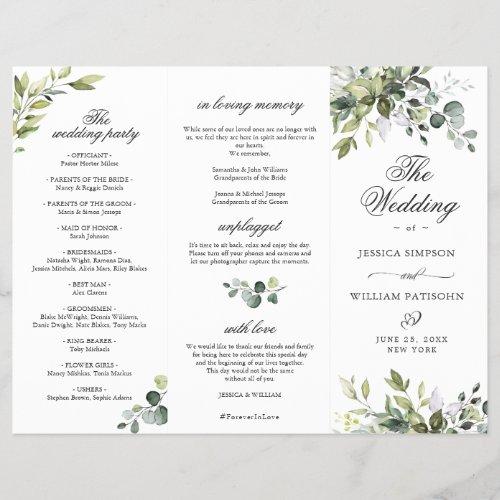 Elegant Eucalyptus Wedding Ceremony Program