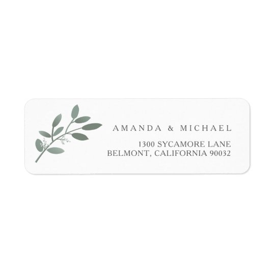 Elegant Eucalyptus Wedding Envelope Return Address Label  ZazzleCom