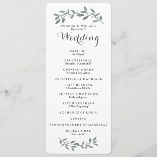 Elegant Eucalyptus Wedding Program