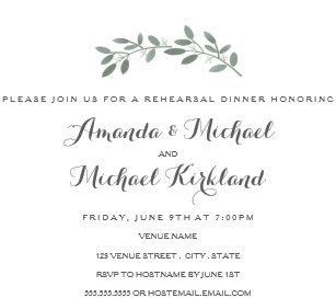 Rehearsal dinner invitations zazzle elegant eucalyptus wedding rehearsal dinner invitation junglespirit Image collections