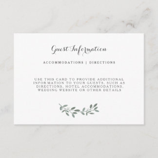 Elegant Eucalyptus Wedding Suite Insert Card