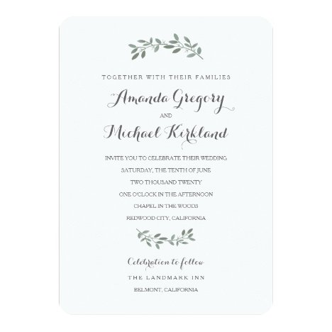 Elegant Eucalyptus Wedding Suite Invitation