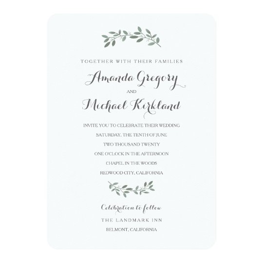 Elegant Eucalyptus Wedding Suite Invitation Zazzle Com