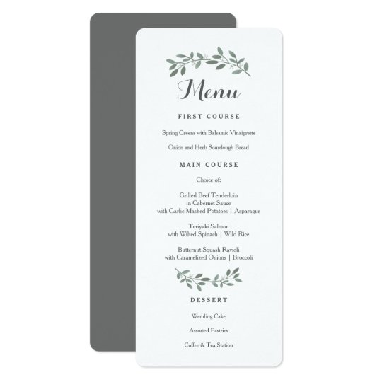 Elegant eucalyptus wedding suite menu card zazzle elegant eucalyptus wedding suite menu card stopboris