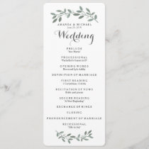 Elegant Eucalyptus Wedding Suite Program Card