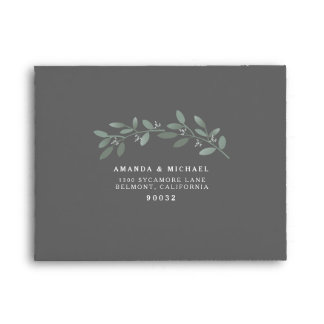 Elegant Eucalyptus Wedding Suite RSVP Envelope