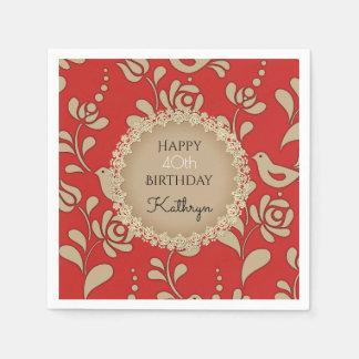 Elegant European Folk Art Birthday Paper Napkin