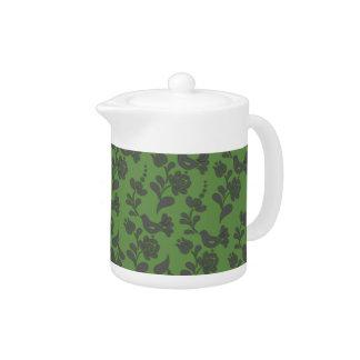 Elegant European Folk Art Green Teapot
