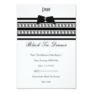 Elegant Event Formal Black Tie White Dinner Card