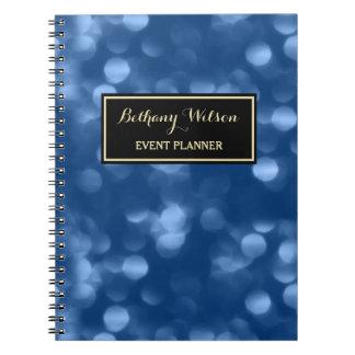 Elegant Event Planner Glamorous Blue Luxe Bokeh Spiral Notebook