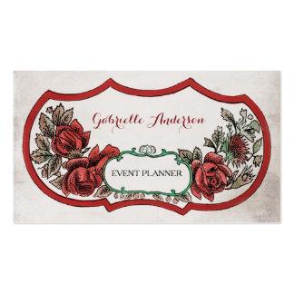 Elegant Event Planner Vintage Red Rose Floral Business Card