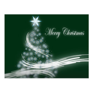 Elegant Evergreen Christmas Tree with Star Post Card