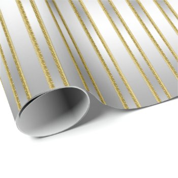 Elegant Exquisite Silver on Silver Stripes Wrapping Paper
