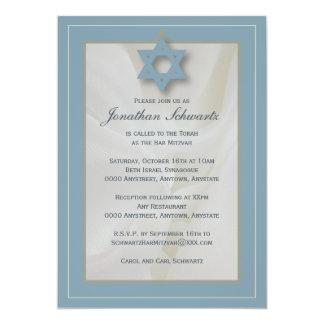 Elegant Fabric Bar Mitzvah Invitation in Blue