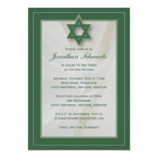 Elegant Fabric Bar Mitzvah Invitation in Green