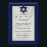 "Elegant Fabric Bar Mitzvah Invitation in Navy<br><div class=""desc"">This elegant fabric Bar Mitzvah invitation sets the tone for your son's big day. The border has an on-trend palette with a pencil-thin outline in a complementary color. A Star of David anchors the design and a beautiful white fabric billows in the background. And all of the printed information can...</div>"