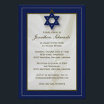 """Elegant Fabric Bar Mitzvah Invitation in Navy<br><div class=""""desc"""">This elegant fabric Bar Mitzvah invitation sets the tone for your son's big day. The border has an on-trend palette with a pencil-thin outline in a complementary color. A Star of David anchors the design and a beautiful white fabric billows in the background. And all of the printed information can...</div>"""