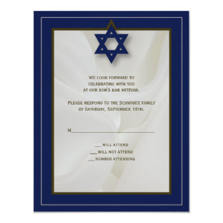 Elegant Fabric Bar Mitzvah Reply Card in Navy