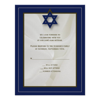 Elegant Fabric Bar Mitzvah Reply Card in Navy Personalized Invitation