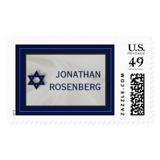 Elegant Fabric Bar Mitzvah Stamp in Navy, Large