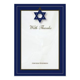 Elegant Fabric Bar Mitzvah Thank You in Navy Card