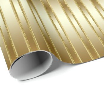 Elegant Fabulous Gold on Gold Stripes Wrapping Paper