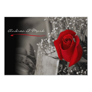 """Elegant Fade Out Red Rose Black and White Wedding 3.5"""" X 5"""" Invitation Card"""