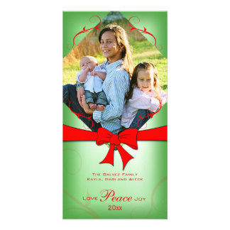 Elegant Faded Green Red Ribbon Love Peace Joy Personalized Photo Card