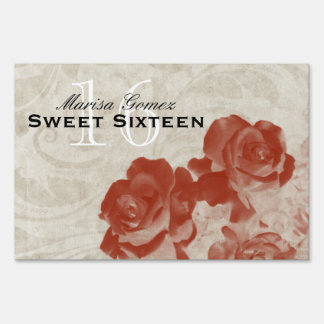 Elegant Faded Roses Sweet 16 Yard Sign