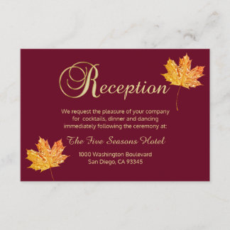 Elegant Fall Autumn Burgundy Gold  RECEPTION Card