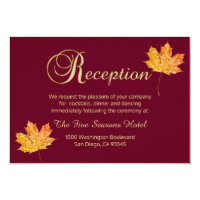 Elegant Fall Autumn Burgundy Gold  RECEPTION Card